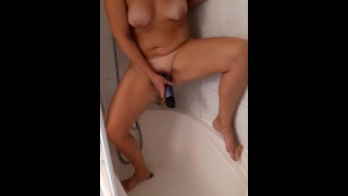 French Milf masturbates in the shower and invites her neighbor to jerk off with her!