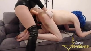 Stupid whore in blue wig beg girlfriend to fuck his ass- full clip on Onlyfans (link in bio)