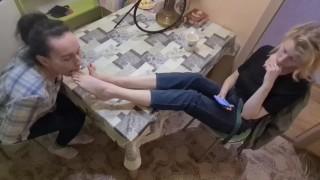 First lesbian foot worship for mistress Nika 18 y.o. (TRAILER)