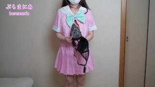 Tバックピンクセーラー服でノーブラノーパン生着替え下着紹介❤️
