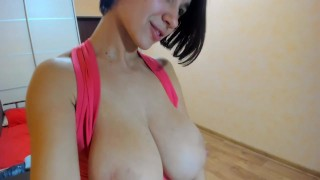 Myla_Angel shows all body from below, tits pressing and bouncing!