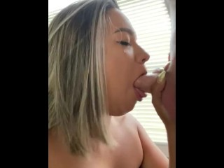 White cock pushes throat to the limit sloppy toppy