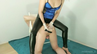 First Anal Penetration by sexy Mistress in leather leggings