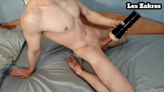 hot muscular guy edges with his toy to the limit and cums hard inside moaning loud