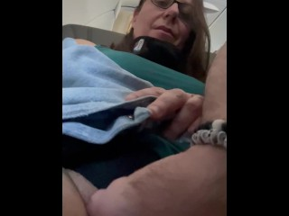 Milf with fat pussy gets fingered on airplane