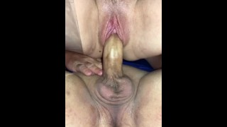 Riding Cock while fingering his Ass until he Creampies my Pussy, I push out Cum & Pee a little too