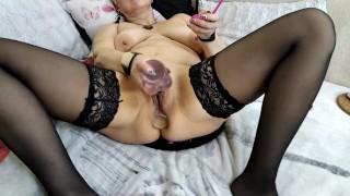 Mature russian slutwife and her funny holes... )) Footjob, blowjob, creampie, sex toys, closeup!