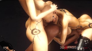 Secrets of Area 51. 3d dickgirl androids plays with a sexy ebony in the lab