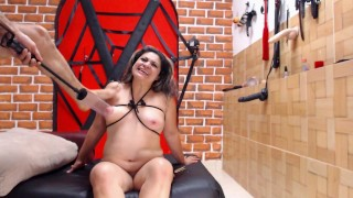 Titty tied milf gets spanked clamps, her nipples are pumped hard, amazing BDSM in the dungeon