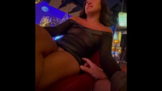 Nipples exposed see through mesh dress tits out in very risky public casino as she jerks me off.