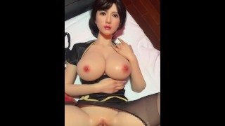 [POV] Anal with Hot Sex Doll Big tits in Chinese Cloth and Black Stocking