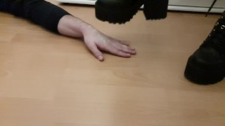 Hand trampling with heavy boots