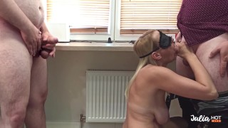 Sharing My Wife With Guest. Blowjob in front of Husband. Cuckold Watching.
