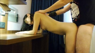 Skinny Nerdy Asian with Glasses getting her Pussy fucked hard in Hotelroom