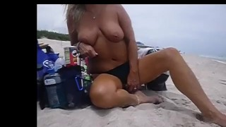 Hot Blonde Milf Public Beach Pee People Walking By Checking Out Her Beautiful Nipples