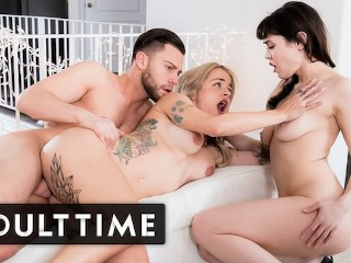 ADULT TIME - Surprising My Sexy Tatted Up Wife With A Threesome For Christmas