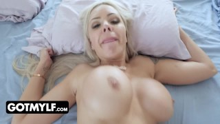 Screen Capture of Video Titled: Blonde MILF With Big Tits Gets Tricked With Vibrating Egg In Her Panties While She Is In The Shower