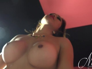 Nina sits on a guys stiff cock and rides it deep