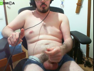 Edging for my friend on chaturbate webcam show (quick ass flash, tight boxers)