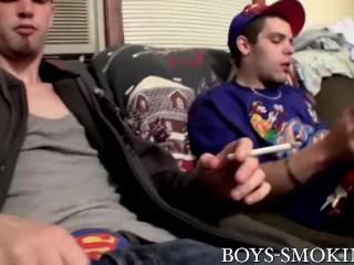 Straight boys Drac and Nolan jerk off dicks while smoking
