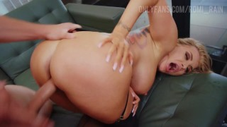 Blonde Romi Rain Fucks A Big Cock And Squirts In Lingerie!