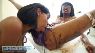Black Lesbian - Ebony lesbian seduce with chocolate over all her bodies