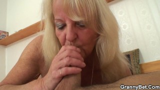 80 years old blonde rides strangercock