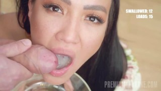 PremiumBukkake - Asia Vargas swallows 56 huge mouthful cumshots