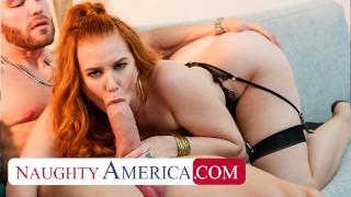Naughty America - Hot Read Head Madison Morgan takes a huge cock