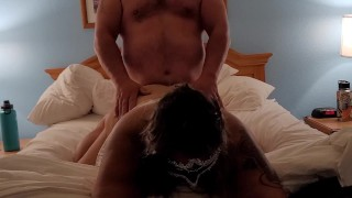 Bbw wife looks at you as she is getting fucked doggy wishing you where fucking her.