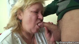 He brings hungry blonde grandma home for play
