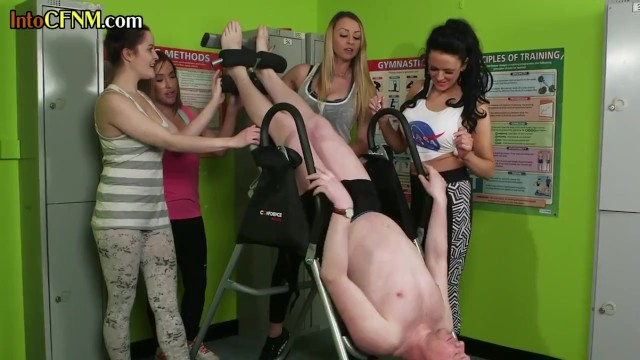 CFNM fitness babes gently cock teasing and humiliating