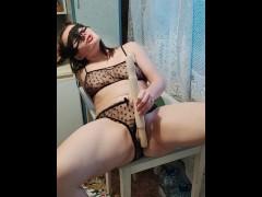 Milf fucked herself in the kitchen