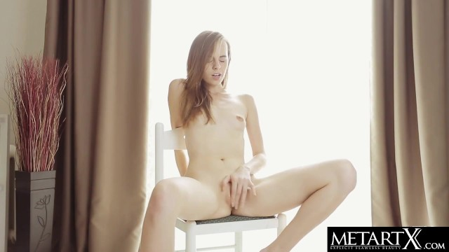 Gorgeous ballerina gets naked and masturbates during her warm up
