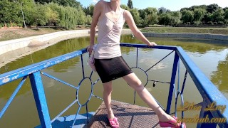Public walking in total transparent skirt