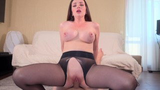 Wife in pantyhose gets cum on her ass