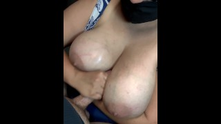 Step mom with huge natural tits fucks her stepson with them after the public pool