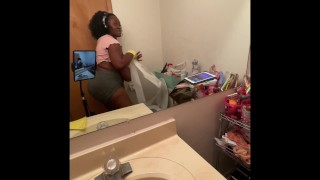 Ebony BBW cleaning nipples hanging out my shirt