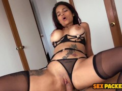 Fit Redhead Latina in Stockings Riding Tourist Big Dick for Cum Shake
