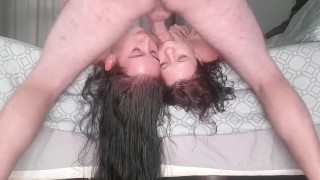 Using not 1 but 2 whores mouths as my personal cock pocket while they both lay upside down