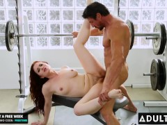 ADULT TIME - Sexy Redhead Jessica Ryan Secretly Fucks Her Buff Brother-In-Law At The Gym
