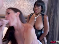 MILF Sofie Marie Fucked By Ebony With Strap On In Threeway