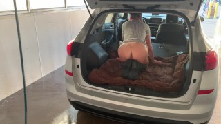 TANNED NAUGHTY MILF IN PUBLIC WASHING CAR WITH NO PANTIES