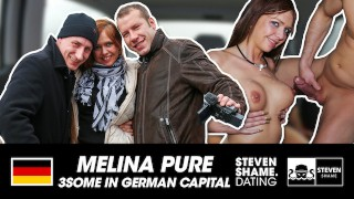 HORNY MILF FUCKED IN CAR: THREESOME IN PARKING LOT: MELINA PURE! StevenShameDating