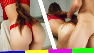 Redhead LONG HAIR is over 1 Meter - Doggy Hair Pulling CUM on BIG ASS - Hair Fetish   Ava Lips