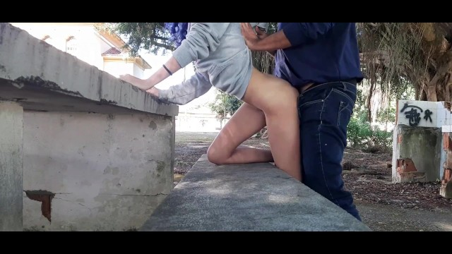 A TEACHER and his STUDENT have had RISKY OUTDOOR FUCK behind the SCHOOL