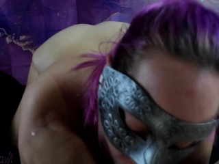 Pink Haired Nerd Gives Sloppy Blowjob for Throbbing Cumshot