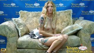 Hot Thin Tattoo Blonde Does Deep Anal - Deepthroat- Bondage Play - At Las Vegas Casting POV