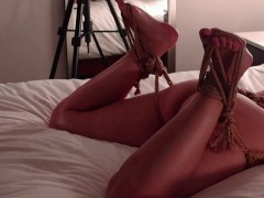 MILF tied up in rope harness, also gets feet tied and tickled!