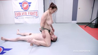 Naked Wrestling With Bella Rossi Dominating a Guy Giving A Footjob Then Strapon Fucking Him